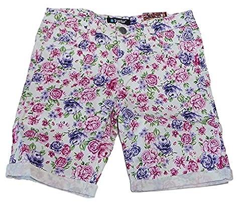 Tractor Girls Stretch Bermuda Denim Shorts Adjustable Inner Waist (7, Pink Rose Print) - Girls Pink Floral Denim