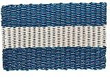 Wicked Good Lobster Rope Doormats, Handwoven Nautical Rope Doormats (24 x 36, Navy with Light Tan Stripe)
