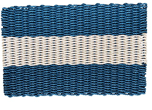 Wicked Good Lobster Rope Doormats, Handwoven Nautical Rope Doormats (24 x 36, Navy with Light Tan Stripe) by Wicked Good Doormats