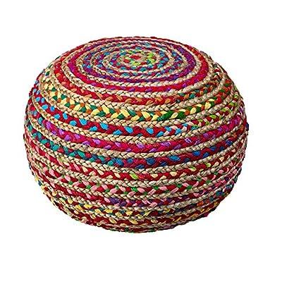 """L.R. Resources POUFS99705MLT2014 Boho Beauty Braided Pouf Ottoman, 14"""" x 20"""", Multicolor"""