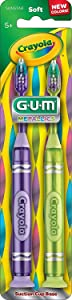 GUM Crayola Kids' Metallic Marker Toothbrush, Soft, Ages 5+, Assorted Colors, 2 Count