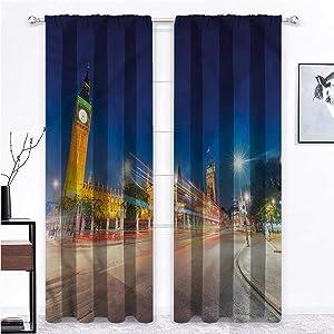 GugeABC Long Curtains Urban for Boy Girl Bedroom Big Ben Westminster UK 63 x 63 Inch (2 Panels)