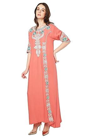 de2174afcbd6f Amazon.com: Muslim Dress Dubai Kaftan for Women Long Sleeve Long Dress  Abaya Islamic Clothing Girls Arabic Caftan Jalabiya: Clothing