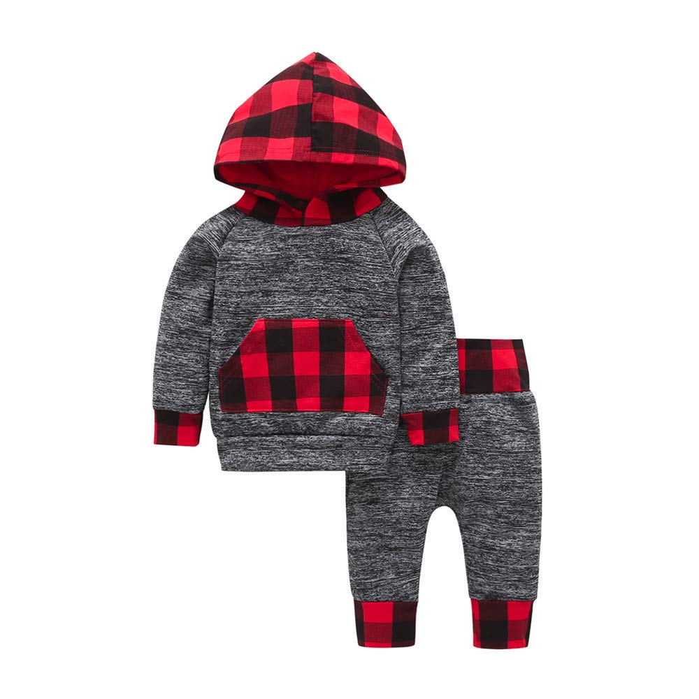 Clothes Set Clearance, Boy Plaid Hoodie Pocket Sweatshirt Pullover Tops Pants Trouser for 0-2 Years Old Baby Outfits JUH-852