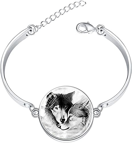 DOME-SPACE Adjustable Silver Bracelets Pisces Constellation Hand Chain Link Bracelet Clear Bangle Custom Glass Cabochon Charm