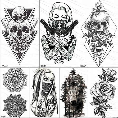 yyyDL 3D rombo triángulo monja tatuaje temporal pegatina para ...