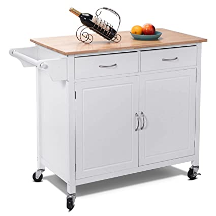 Incroyable Giantex Portable Kitchen Rolling Island Cart Wood Table Top Island Serving  Utility Kitchen Storage Trolley Carts