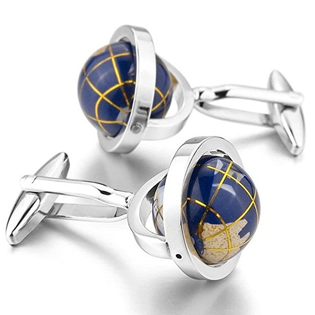 LBFEEL Really Spins Rhodium Plated Blue Globe Earth Cufflinks for Men with a Gift Box 10022435