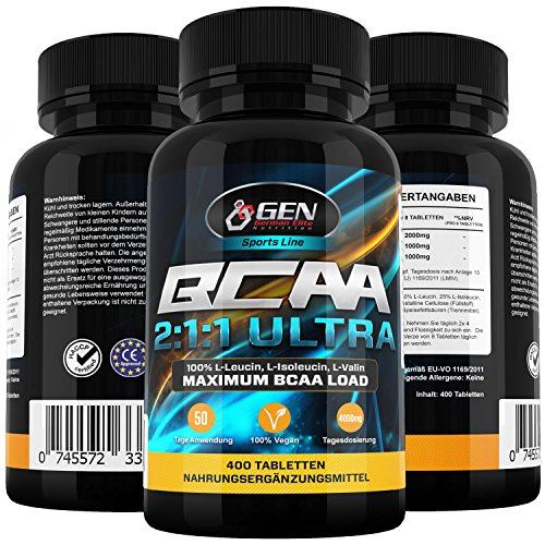 BCAA Ultra 2:1:1 400 Tabletten, 4000mg Tagedosierung, 50 Tage Anwendung, Aminosäuren Leucin, Isoleucin & Valin, Pharmaqualität aus EU-Produktion, 100% L-Leucin, L-Isoleucin, L-Valin, Leichte Einnahme durch vegane Tabletten