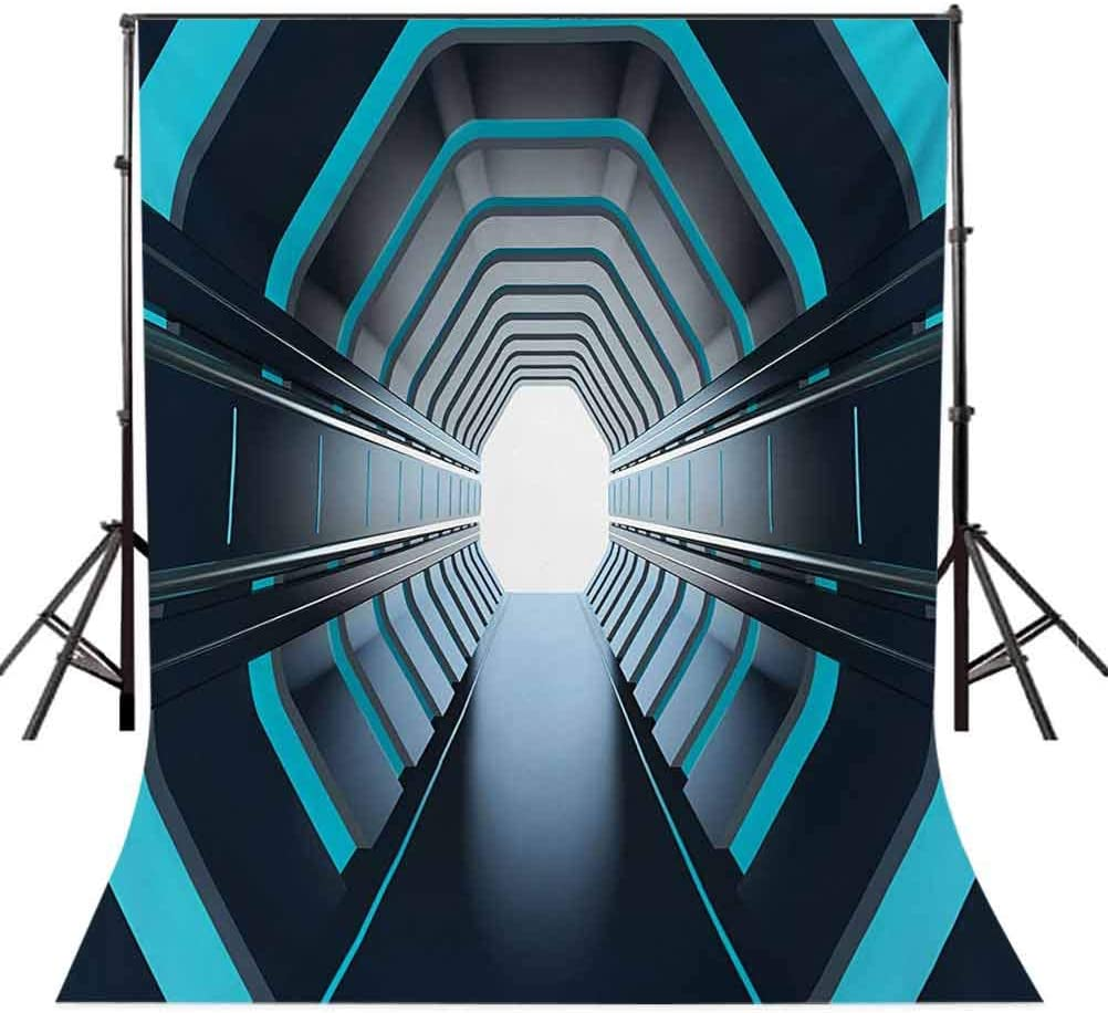 Tunnel with Neon Passage Mercury Lunar Orbit Inspired Stardust Art Background for Party Home Decor Outdoorsy Theme Vinyl Shoot Props Blue Dark Blue White Outer Space 10x12 FT Photography Backdrop