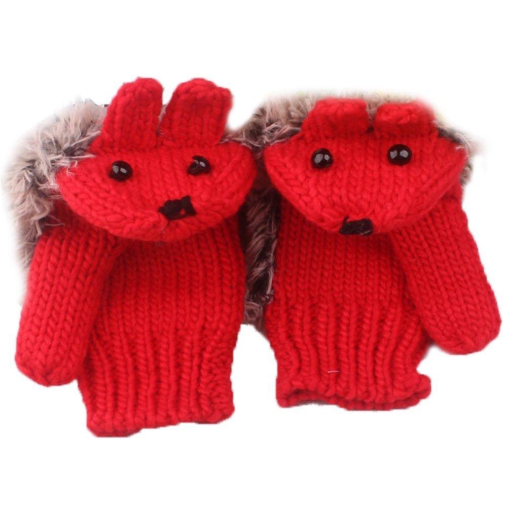 LUQUAN Women Winter Thicken Knitted Warm Carton Hedgehog Mitten Full Fingers Gloves