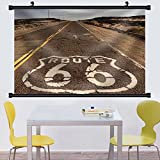 Gzhihine Wall Scroll The historic route 66 road still survives the southwest Fabric Wall Home Decor 28''x14''