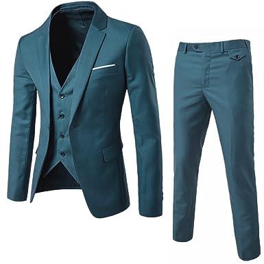 WULFUL Men\'s Suit Slim Fit One Button 3-Piece Suit Blazer Dress ...