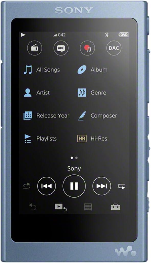 Sony NWA45L - Reproductor de Audio Walkman (16 GB, Hi-Res Audio, DSD, DSEE HX, SMaster HX, NFC, Noise Cancelling Digital, 45 Horas de reproducción de música), Color Azul Lunar