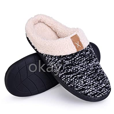a259ecf8a35 okay Women s Slippers and Men s Slippers Cozy Memory Foam Wool Slippers Wool -Like Plush Fleece Lined House Shoes w Indoor