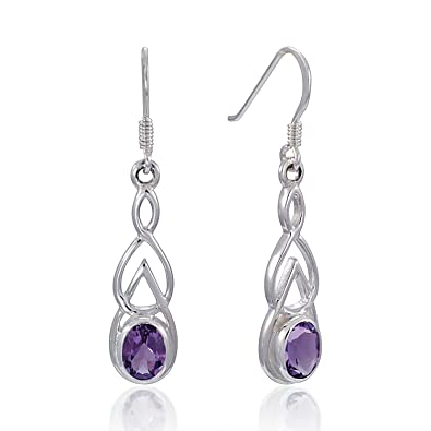 charming triangle earrings leah laura amethyst stone products
