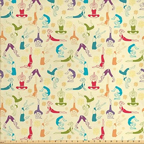 (Ambesonne Yoga Fabric by The Yard, Workout Themed Fitness Girls Pattern Abstract Meditation Postures Arrangement Asian, Decorative Fabric for Upholstery and Home Accents, Multicolor)