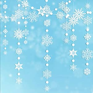 Decor365 Winter Wonderland White Snowflake Garland kit Hanging Snow Flakes for Christmas New Year Party Decoration for Home/Office/Showcase/Ceiling/Doorway/Mantel/Birthday/Baby Shower/Wedding/