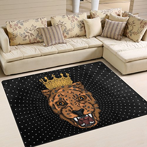 SAVSV Large Area Rugs Portrait of Leopard Printed,Lightweight Water-Repellent Floor Carpet for Living Room Bedroom Home Deck Patio,6'8″ x 4'10""