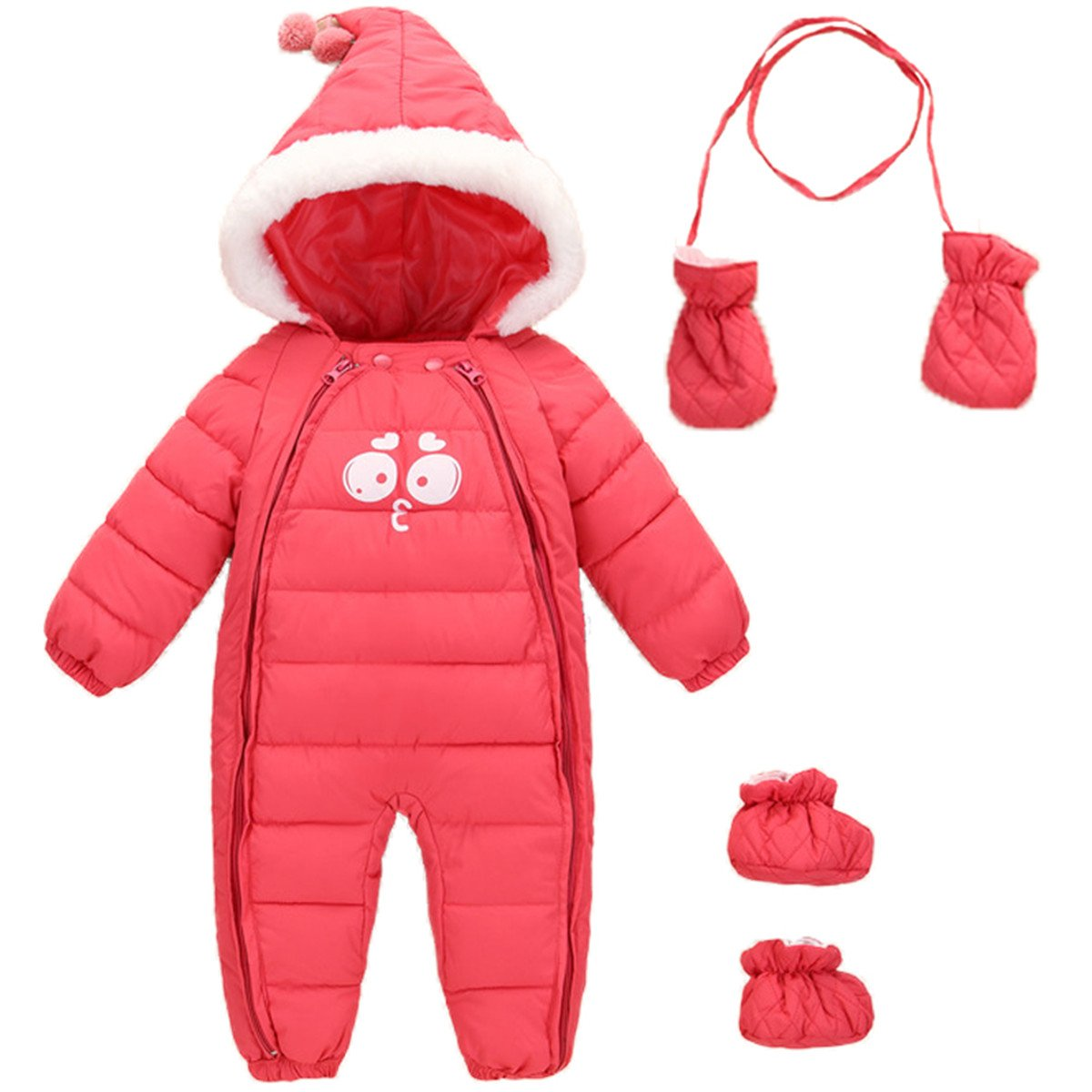 JELEUON Baby Girls Boys One Piece Two Zipper Cartoon Down Jacket Jumpsuit Romper with Gloves and Shoes