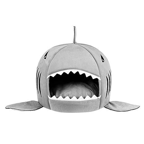 LoveOlvidoE Único Boca de tiburón en Forma de Mascotas Cama del Perro Suave cálida casa de