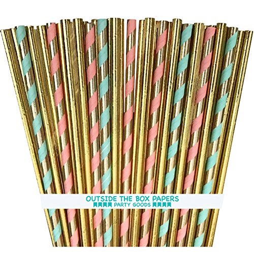 Gold Foil and Pastel Stripe Paper Straws - Gold Peach Mint Green - 100 - Pastel Stripes Color