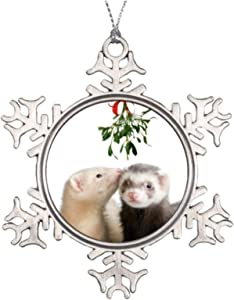 Christmas Ornaments, Ferret Smooches Pewter Ornament, Snowflake Ornament Tree Hanging Decor Gift,3 Inch