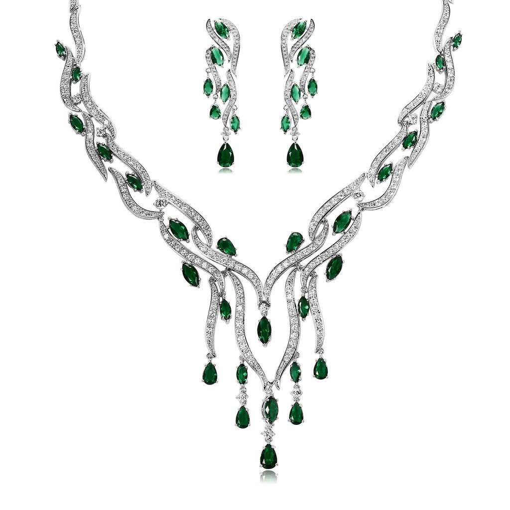 Epinki Silver Plated Jewelry Set, Crystal Rhinestone Green Drop Earrings Necklace Sets For Women