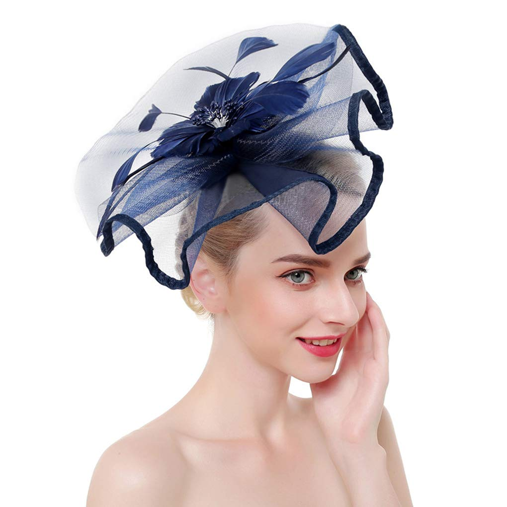Wedding Church Party Net Veil Headband Hat Costume Feather Bridal Mesh Hair Cap