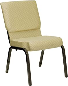 Flash Furniture HERCULES Series 18.5''W Stacking Church Chair in Beige Patterned Fabric - Gold Vein Frame