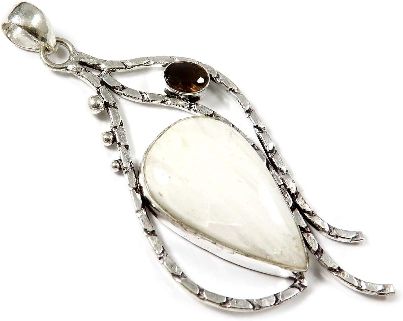 Goyal Crafts GPAH04 - Colgante de cuarzo ahumado chapado en plata con piedra natural