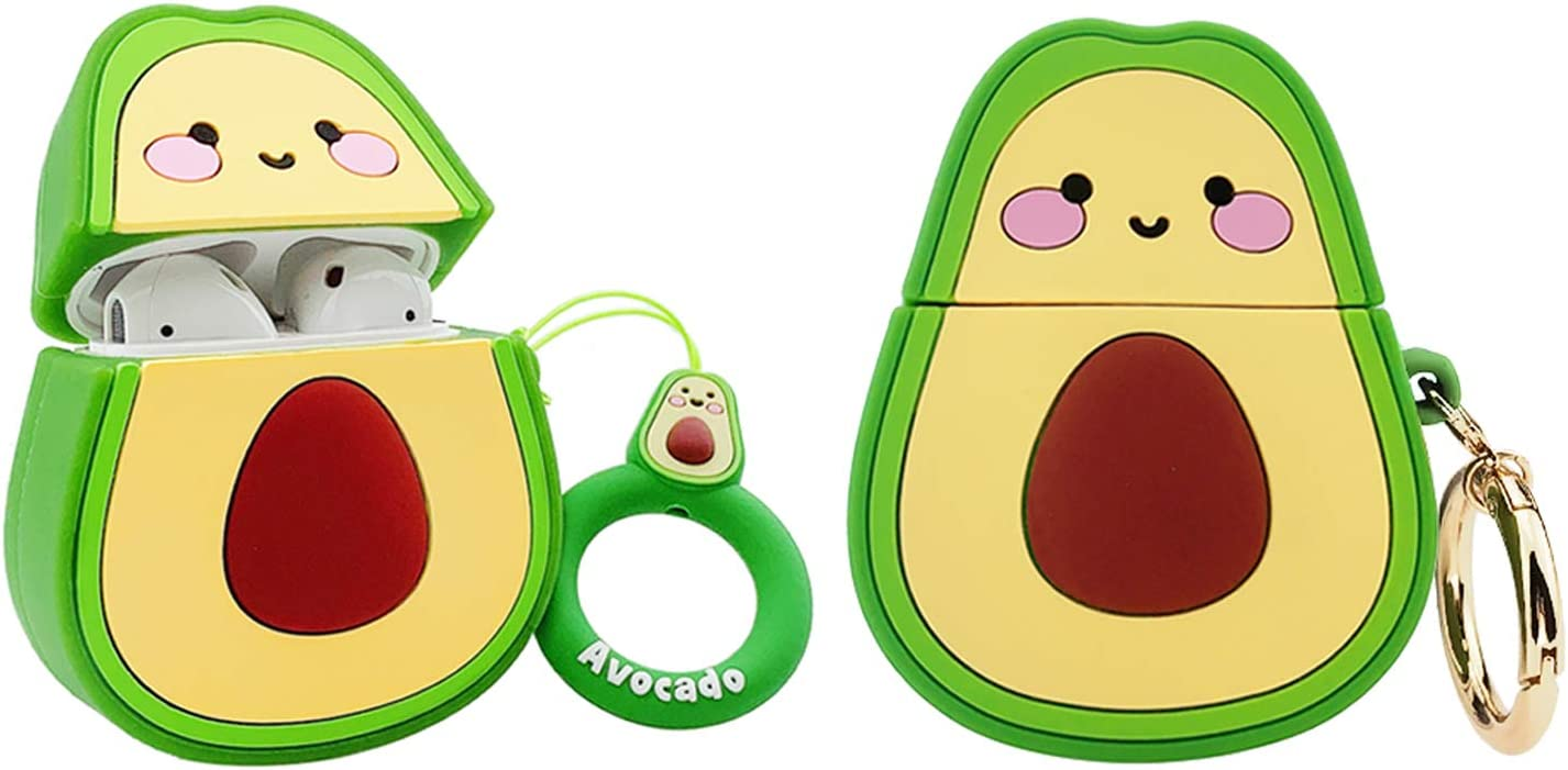 MOLOVA Case for Airpods 1&2 Case,Silicone 3D Cute Funny Cool Cartoon Character Kawaii Fruit Airpods Cover Shockproof with Keychain Portable Storage Bag Earphones Carrying Case(3D Avocado)