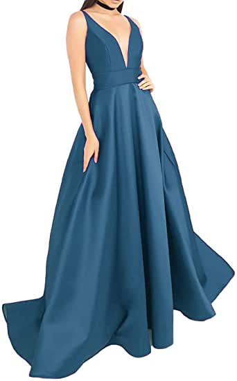 Amazon.com: Lady Dress Women's V Neck Satin Prom Dresses