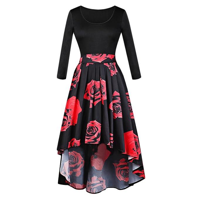 Dos Piezas Vestido Elegante de Fiesta Cóctel con Negra Camiseta Manga Larga Cuello Redondo Falda Asimétrica de Trapecio Estampada Floral, ...