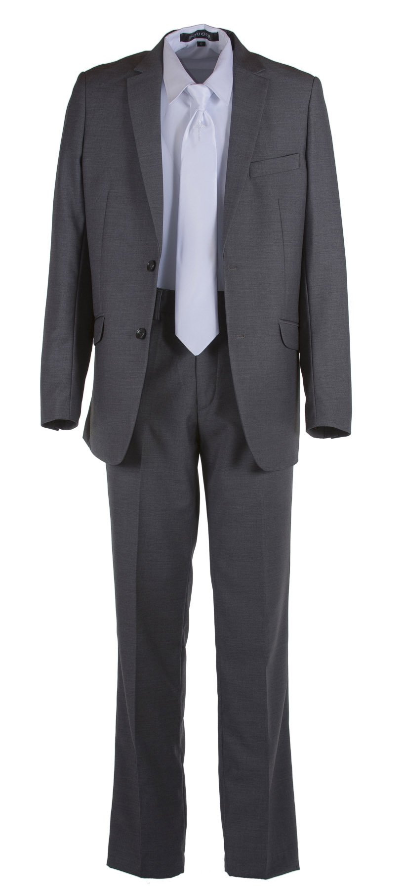 Tuxgear Boys Dark Grey Slim Fit Communion Suit With Religious Cross Dress Tie (7 Boys)