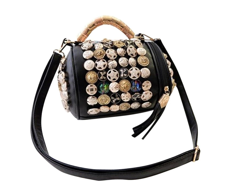 MissFox Womens Metal Decoaration Zipper Shoulder Barrel Shape Handbag