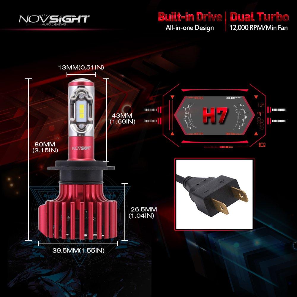 30W//Bulb 2 ans de garantie CSP LED Chips NOVSIGHT H7 60W 10000LM LED Phare Auto Car Lampe Feux Ampoule Kit 6000K Lot de 2