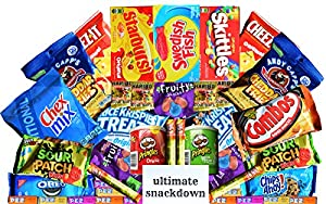 Ultimate Snackdown Sweet and Salty Sampler Snack Pack Gift Box: 40 Pieces Assorted Candy, Chips, Cookies, Etc - College, Office, Military Care Package