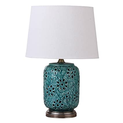 HALORI Lámpara de Mesa de Cerámica Azul Verde - Lámpara de ...