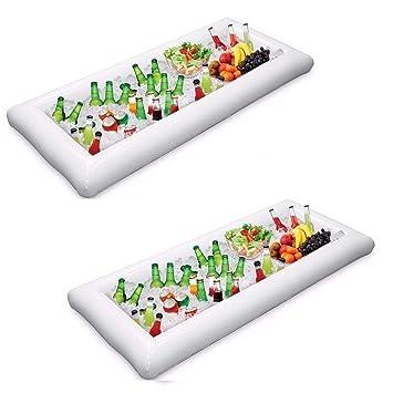 2 piezas Servicio de buffet inflable y barra de ensaladas Cubos de hielo Refrigerador de alimentos Bandeja ...