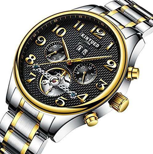 e074dc861 KINYUED Mens Tourbillon Mechanical Stainless Steel Watch Sports Leather  Military Automatic Watches for Men