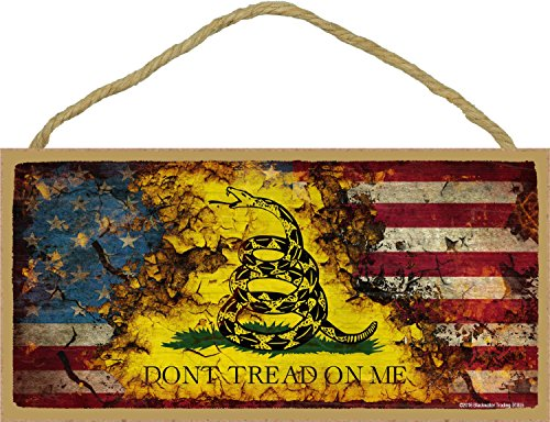 Distressed American / Gadsden Flag Don't Tread On Me Sign 5