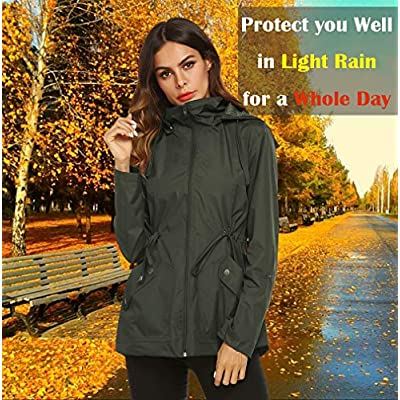 ZHENWEI Rain Jacket Women Waterproof with Lined Raincoat Outdoor Active Travel Hiking: Clothing