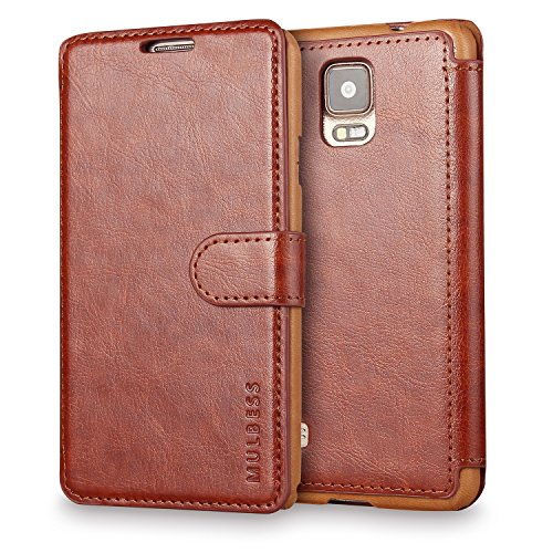 Galaxy Note 4 Case Wallet,Mulbess [Layered Dandy][Vintage Series][Coffee Brown] - [Ultra Slim][Wallet Case] - Leather Flip Cover With Credit Card Slot for Samsung Galaxy Note 4 SM-N910
