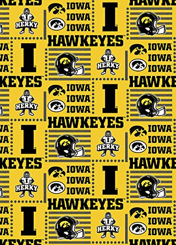 Fabric Hawkeyes Iowa (IOWA HAWKEYES COTTON FABRIC-NEWEST DESIGN)