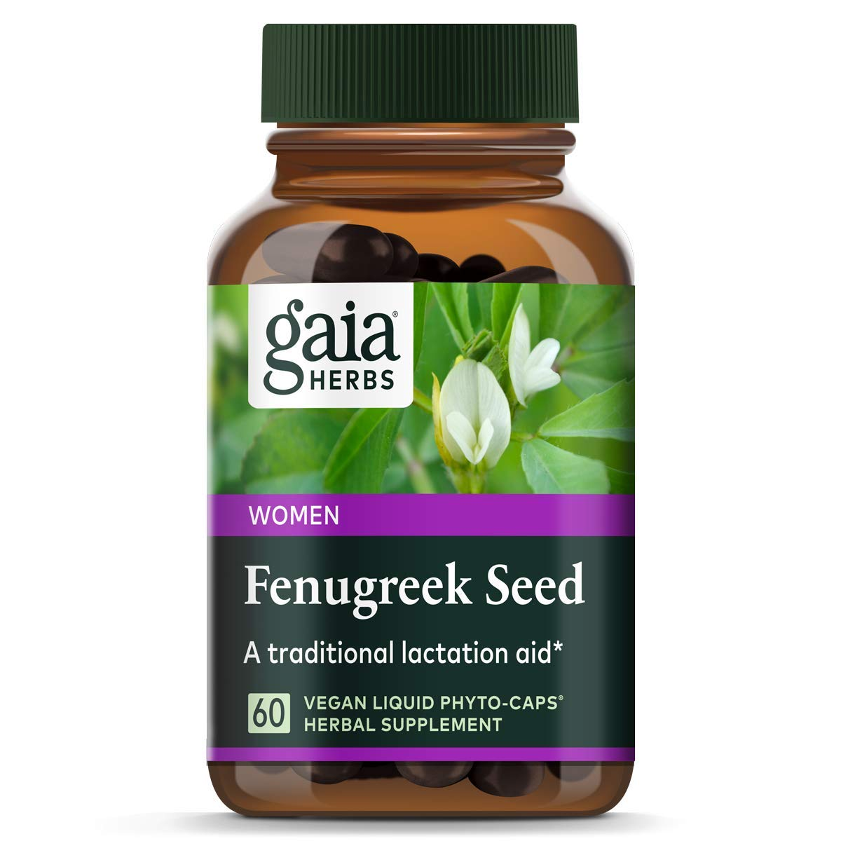 Gaia Herbs Fenugreek Seed, Vegan Liquid Capsules, 60 Count - Lactation Supplement with Organic Fenugreek to Optimize Breast Milk Production