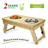 Idepet Pet Feeding Station Dog Bowl Raised Pet Food Holder Wood Elevated Bowls for Small Dogs and Medium Dogs with Double Stainless Steel Cat Bowl Adjustable Raised Dog Feeder