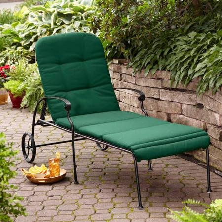 Outdoor, Steel Frame, Clayton Court Chaise Lounge with Wheels, 5 Back Positions, Fabric Poly blend, Mildew Resistant, Green