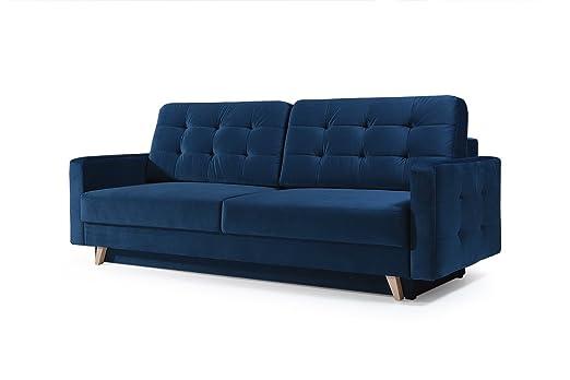 MEUBLO sofá Convertible en Terciopelo Azul Marino 3 plazas ...
