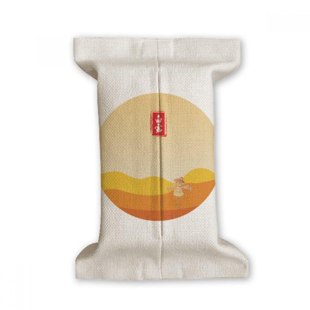 DIYthinker Circular White Dew Twenty Four Solar Term Tissue Paper Cover Cotton Linen Holder Storage Container Gift